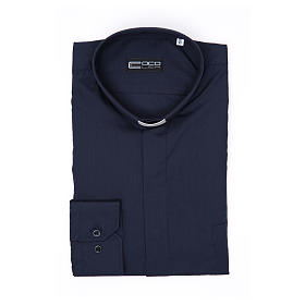 Clerical shirt long sleeve solid colour mixed cotton Blue s3