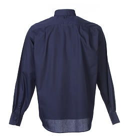 Camisa Clergy Manga Larga Color Uniforme Mixto Algodón Azul s2