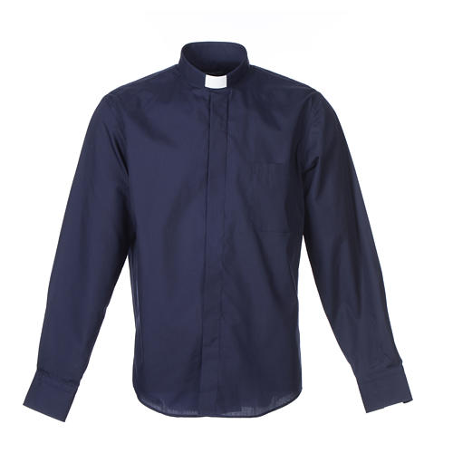 Camisa Clergy Manga Larga Color Uniforme Mixto Algodón Azul 1