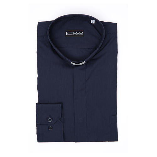 Camisa Clergy Manga Larga Color Uniforme Mixto Algodón Azul 3