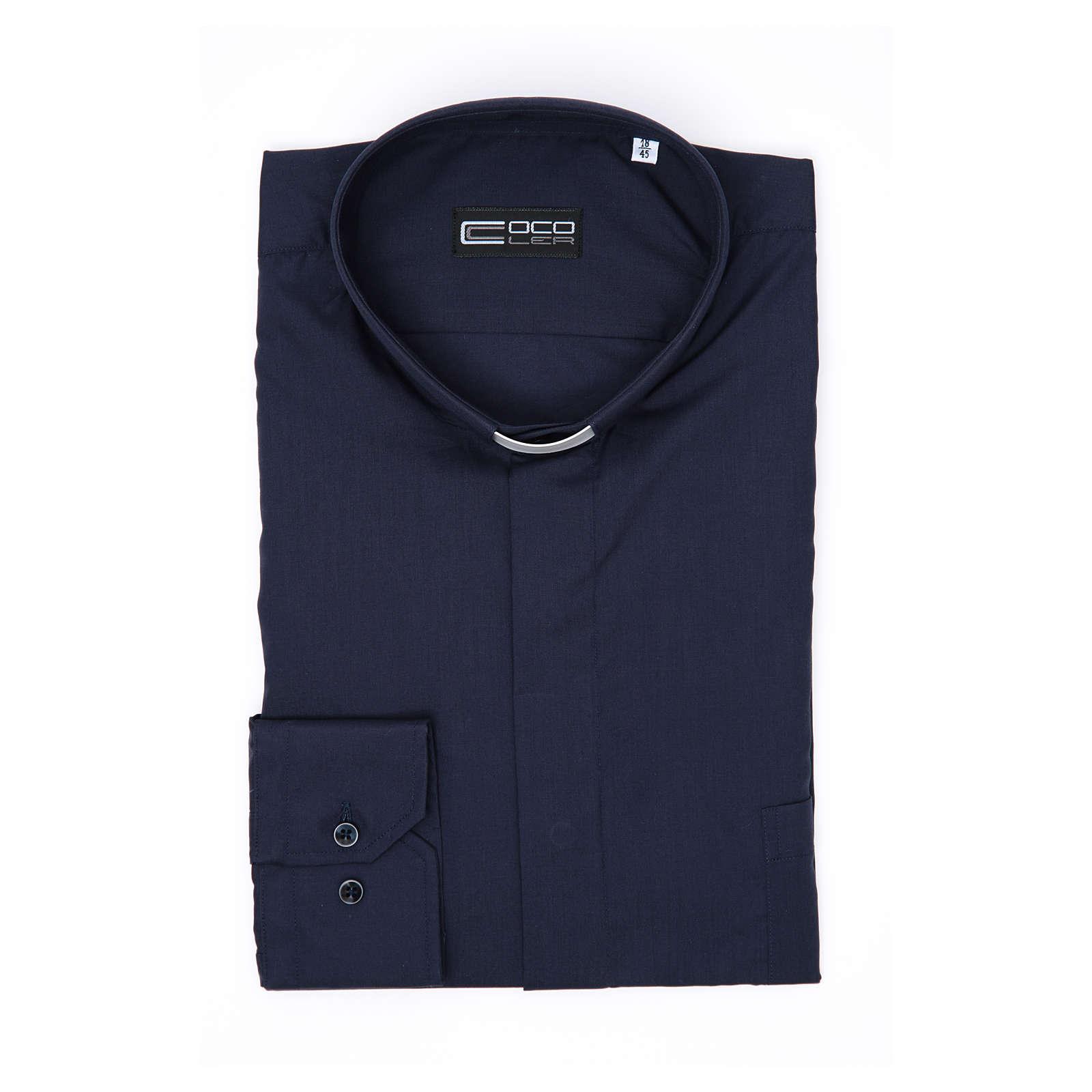 Koszula kapłańska długi rękaw, bawełna mieszana niebieska  oUsEj