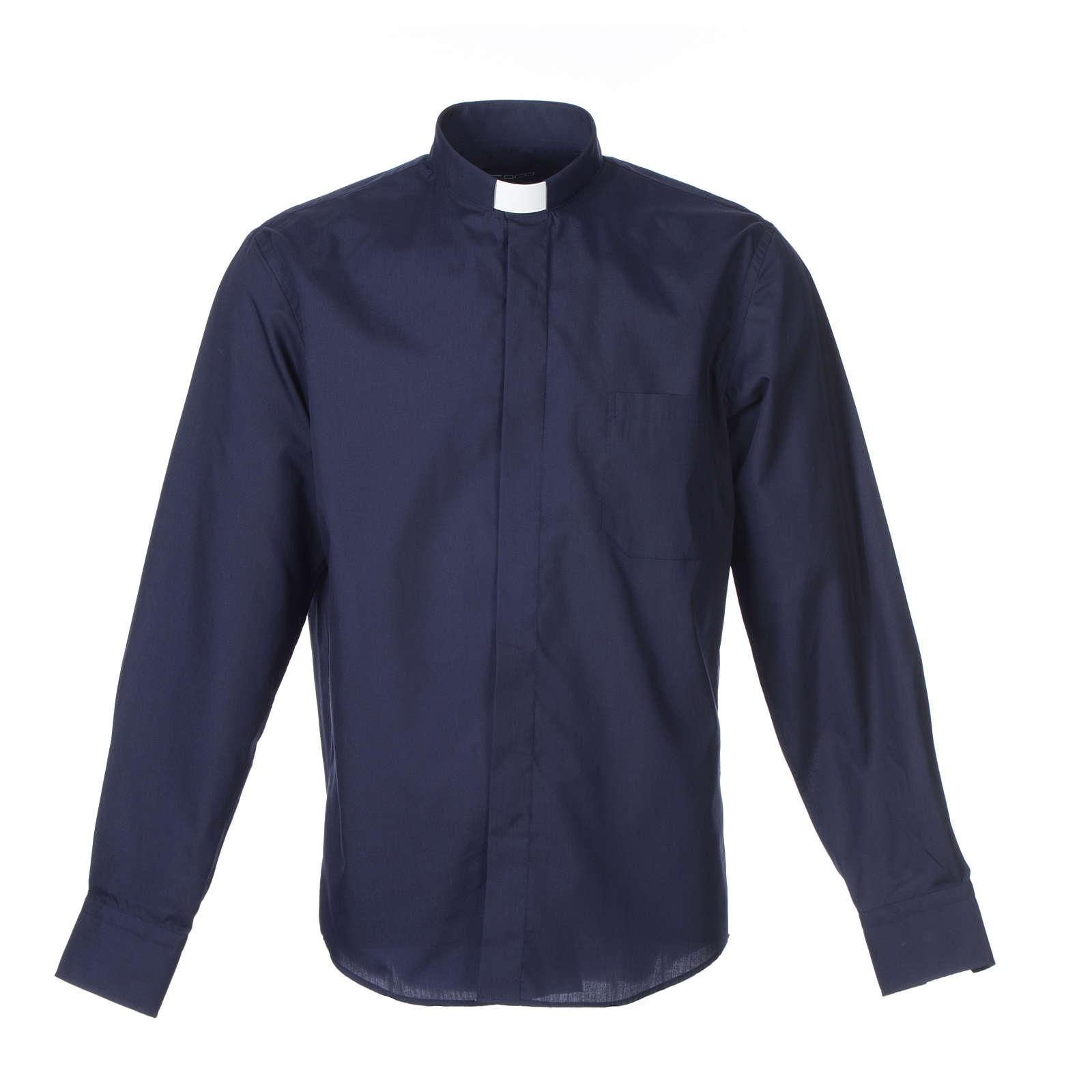 Camisa clergy M/L uma cor misto algodão azul escuro 4
