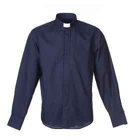Camisas de Sacerdote: Camisa clergy M/L uma cor misto algodão azul escuro