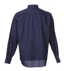 Camisa clergy M/L uma cor misto algodão azul escuro s2