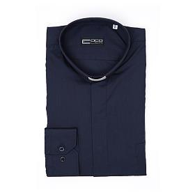 Camisa clergy M/L uma cor misto algodão azul escuro s3
