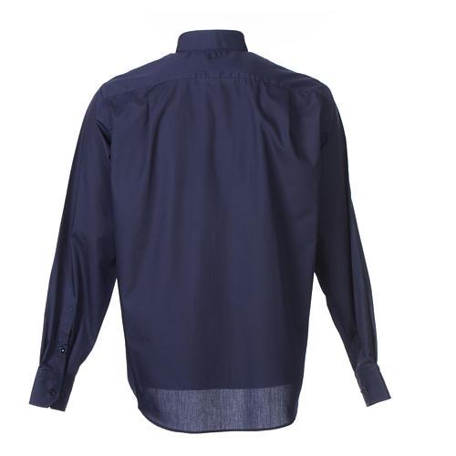Camisa clergy M/L uma cor misto algodão azul escuro 2