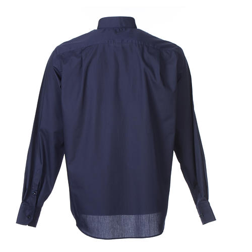Long-sleeve clergy shirt solid color mixed cotton Blue 2