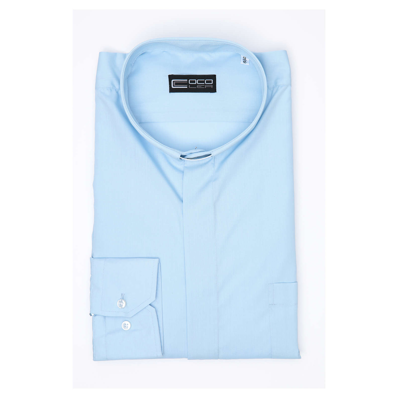 Clergy shirt long sleeves solid colour mixed cotton Light Blue 4