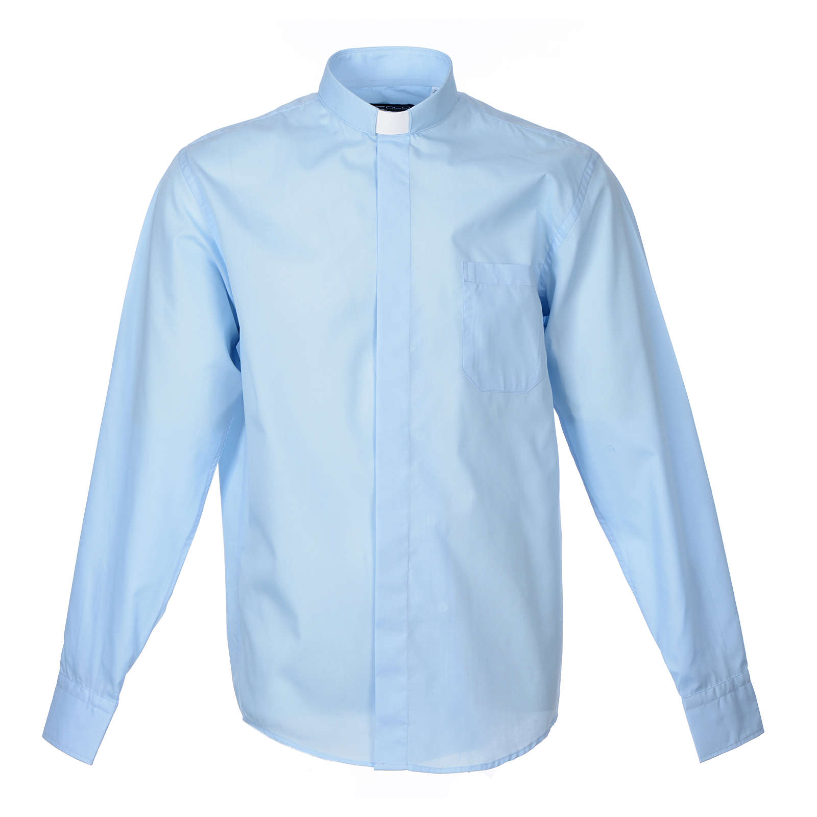 Camisa Clergy Manga Larga Color Uniforme Mixto Algodón Celeste 4
