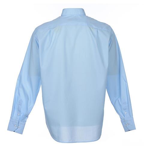 Koszula kapłańska długi rękaw, bawełna mieszana błękitna 2