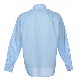 Camisa clergy M/L uma cor misto algodão azul claro s2