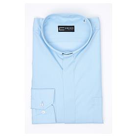Camisa clergy M/L uma cor misto algodão azul claro s3