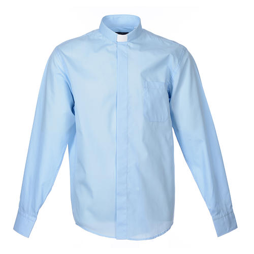 Long Sleeve Priest Shirt in light blue solid color mixed cotton 1