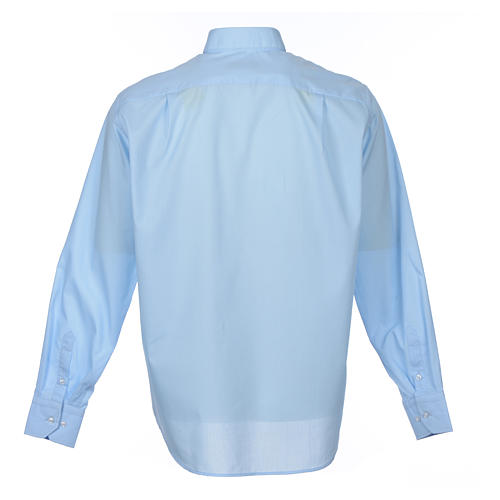 Long Sleeve Priest Shirt in light blue solid color mixed cotton 2
