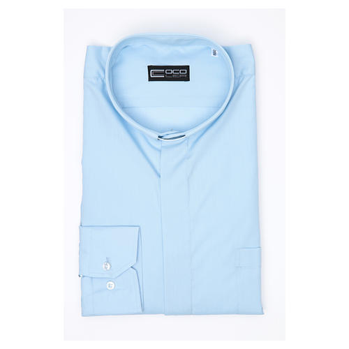 Long Sleeve Priest Shirt in light blue solid color mixed cotton 3