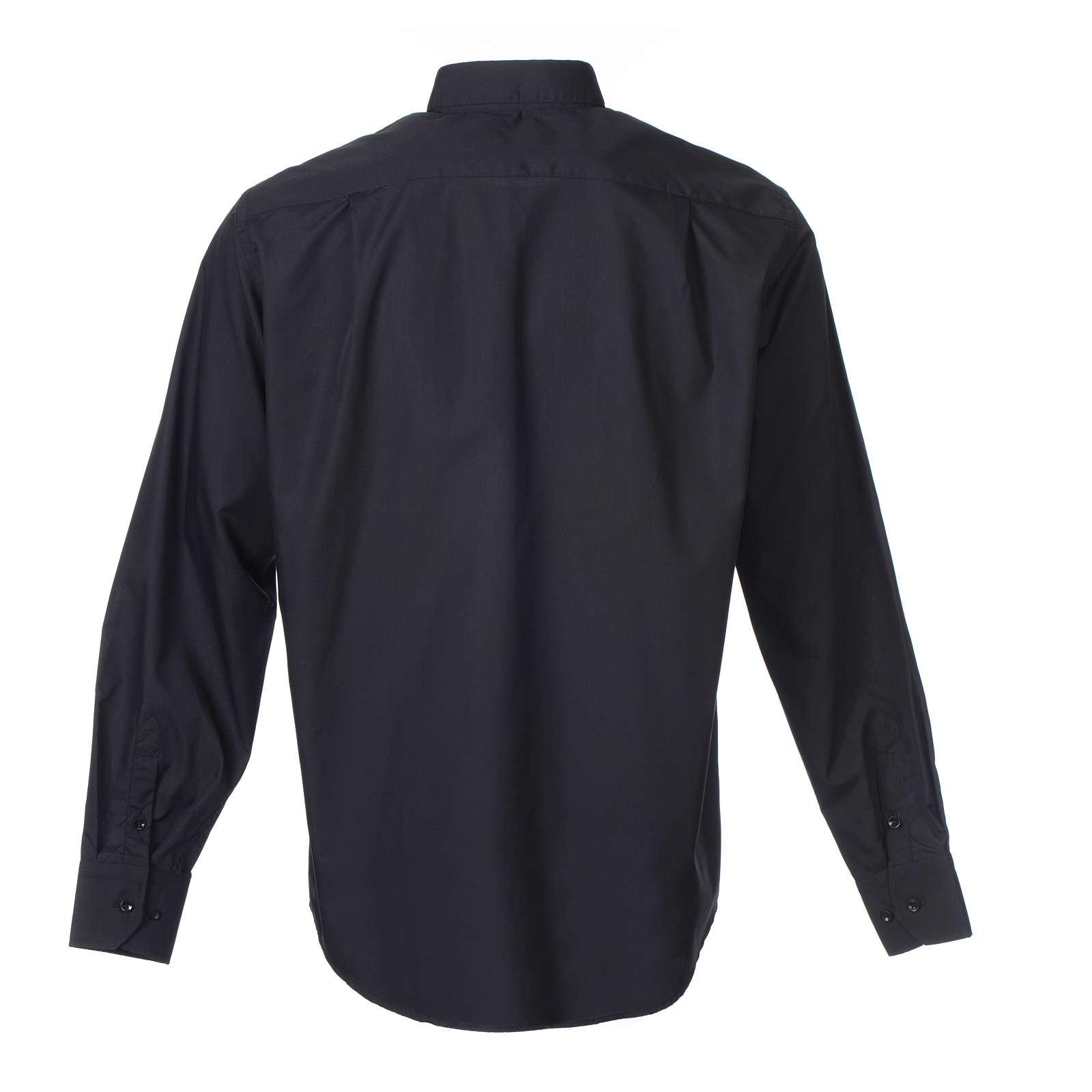 Camisa Clergy Manga Larga Color Uniforme Mixto Algodón Negro 4
