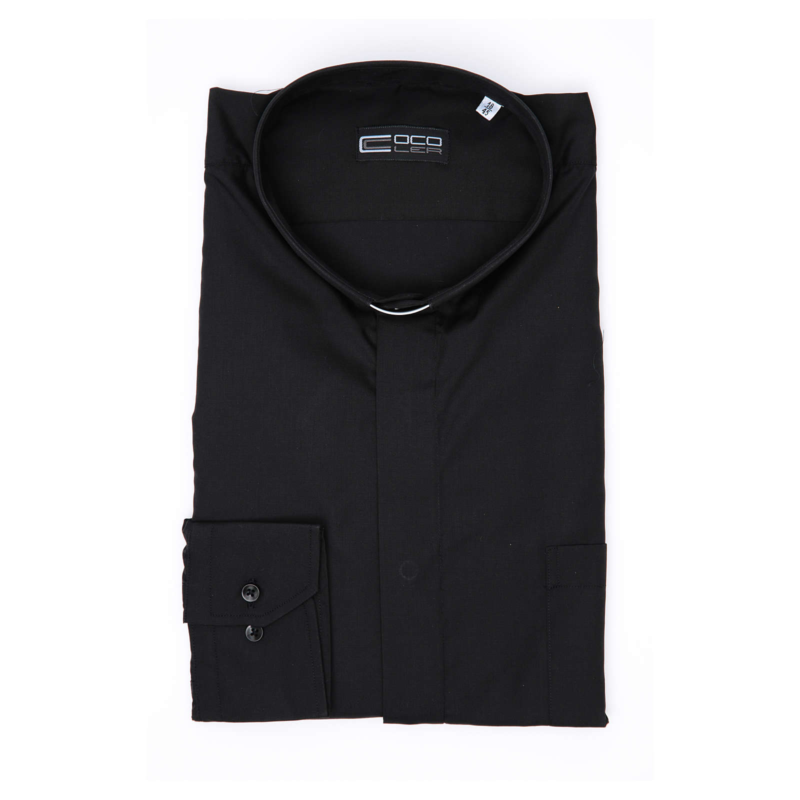 Camisa Clergy Manga Larga Color Uniforme Mixto Algodón Negro 4