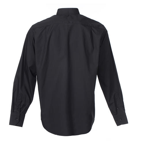 Camisa Clergy Manga Larga Color Uniforme Mixto Algodón Negro 2