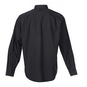 Chemise clergy m. longues couleur unie Mixte coton Noir s2