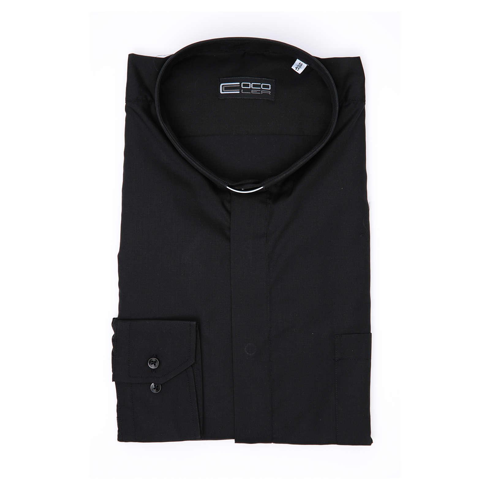 Koszula kapłańska długi rękaw, bawełna mieszana czarna 4