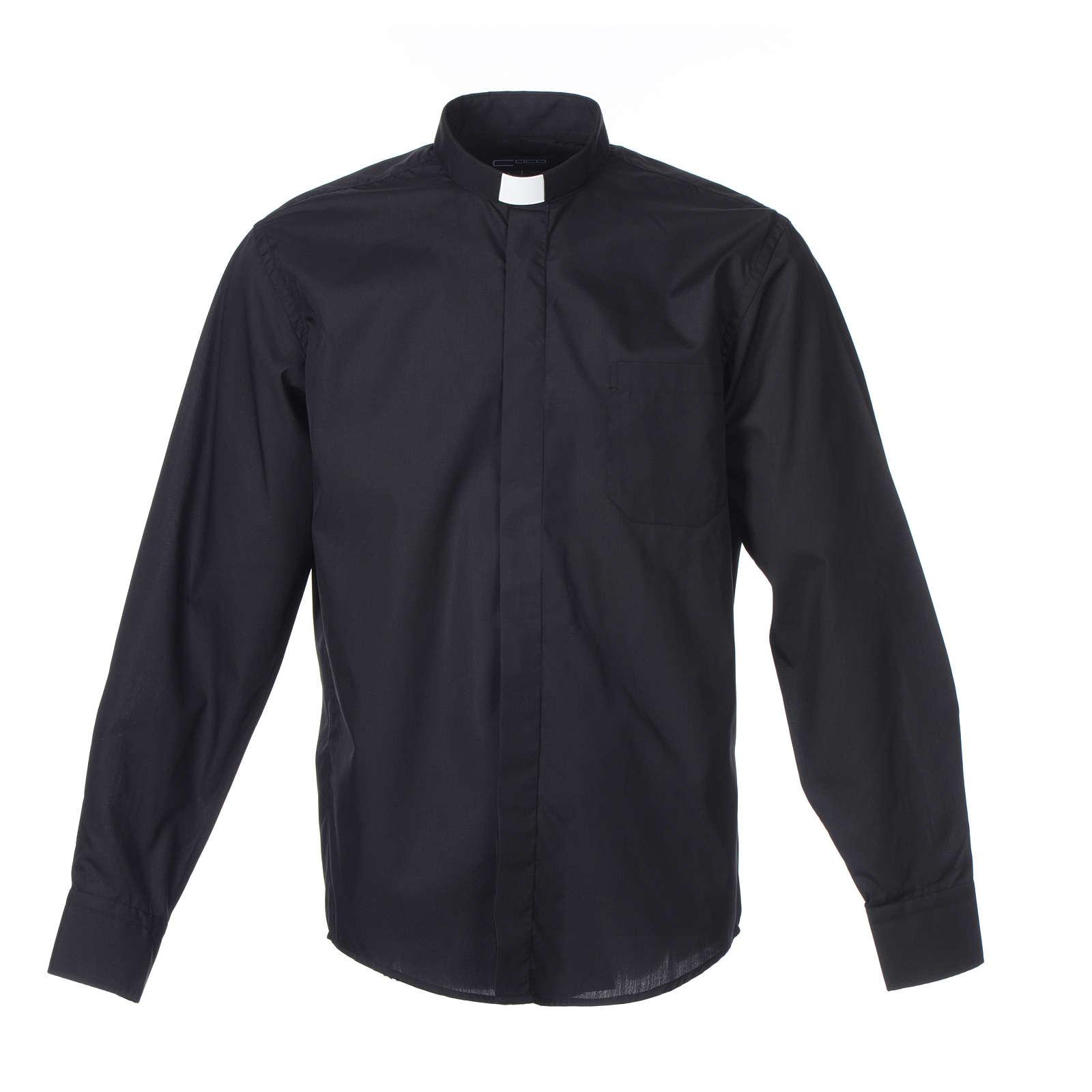 Camisa clergy M/L uma cor misto algodão preto 4