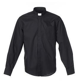Camisas de Sacerdote: Camisa clergy M/L uma cor misto algodão preto