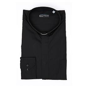 Camisa clergy M/L uma cor misto algodão preto s3