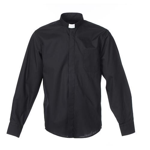 Camisa clergy M/L uma cor misto algodão preto 1