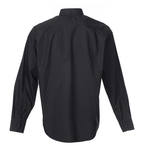 Camisa clergy M/L uma cor misto algodão preto 2