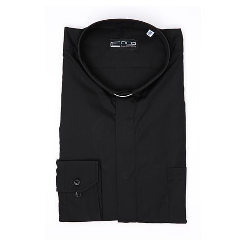 Camisa clergy M/L uma cor misto algodão preto 3
