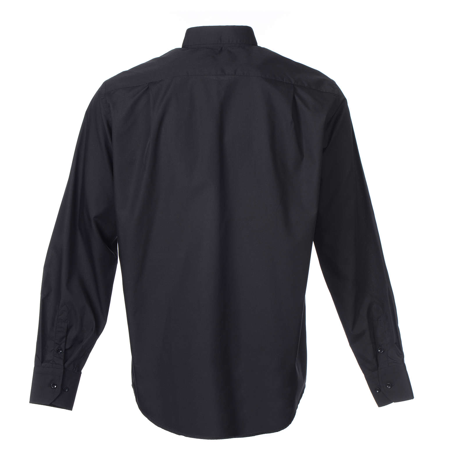 Long-sleeve clergy shirt solid color mixed cotton Black 4