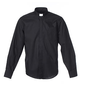 Long-sleeve clergy shirt solid color mixed cotton Black s1