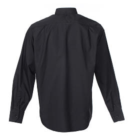 Long-sleeve clergy shirt solid color mixed cotton Black s2