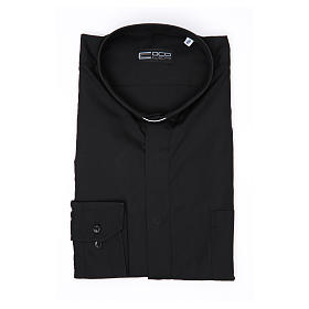 Long-sleeve clergy shirt solid color mixed cotton Black s3