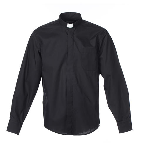 Long-sleeve clergy shirt solid color mixed cotton Black 1