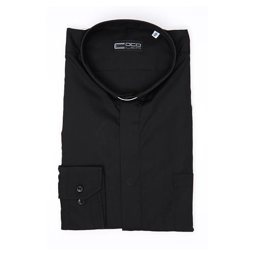 Long-sleeve clergy shirt solid color mixed cotton Black 3
