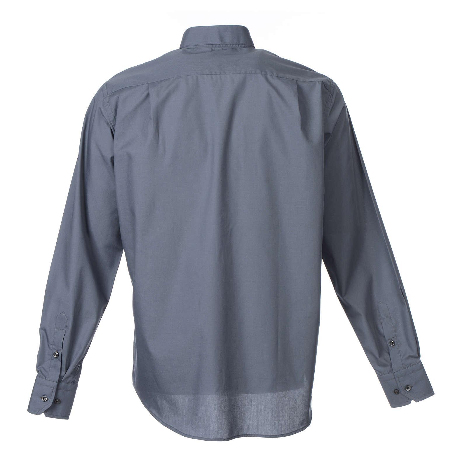 Collarhemd mit Langarm aus Baumwoll-Polyester-Mischgewebe in der Farbe Dunkelgrau 4