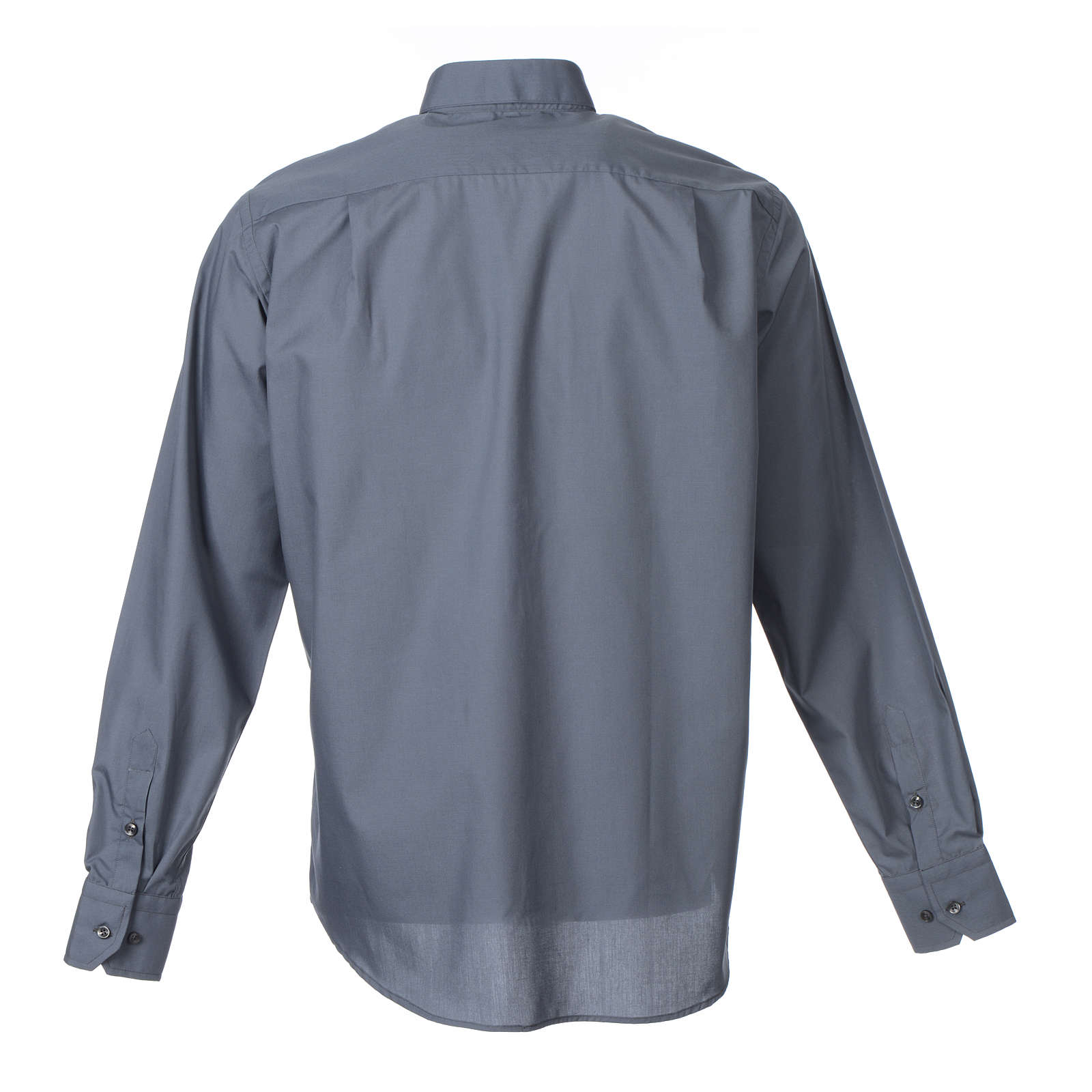Clergy shirt long sleeves solid colour mixed cotton Dark Grey 4