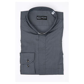 Clergy shirt long sleeves solid colour mixed cotton Dark Grey s3