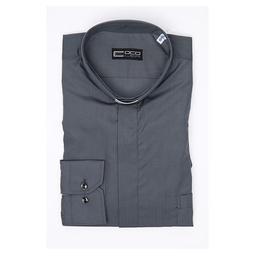 Clergy shirt long sleeves solid colour mixed cotton Dark Grey 3