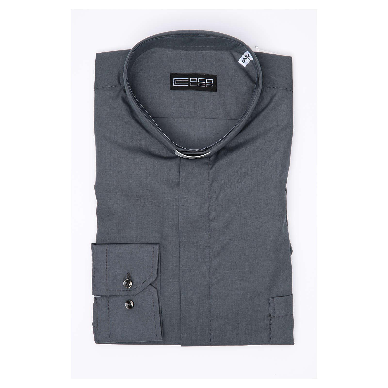 Camisa clergy sacerdote manga larga mixto algodón gris oscuro 4