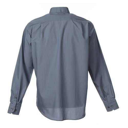 Camisa clergy sacerdote manga larga mixto algodón gris oscuro 2