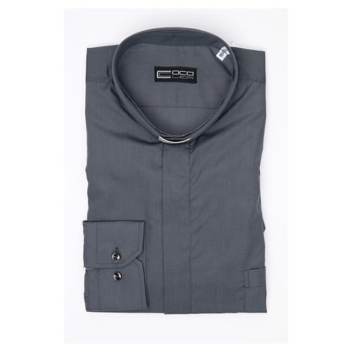 Camisa clergy sacerdote manga larga mixto algodón gris oscuro 3