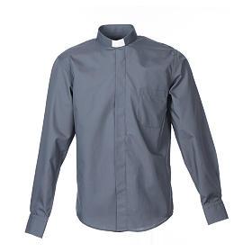 Camisas de Sacerdote: Camisa clergy M/L uma cor misto algodão cinzento escuro