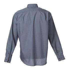Camisa clergy M/L uma cor misto algodão cinzento escuro s2