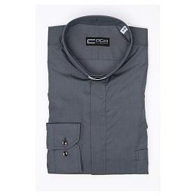 Camisa clergy M/L uma cor misto algodão cinzento escuro s3
