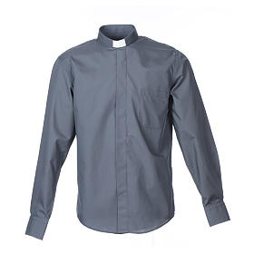 Dark Grey Clergy Shirt long sleeve solid color mixed cotton s1