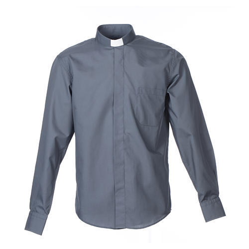 Dark Grey Clergy Shirt long sleeve solid color mixed cotton 1