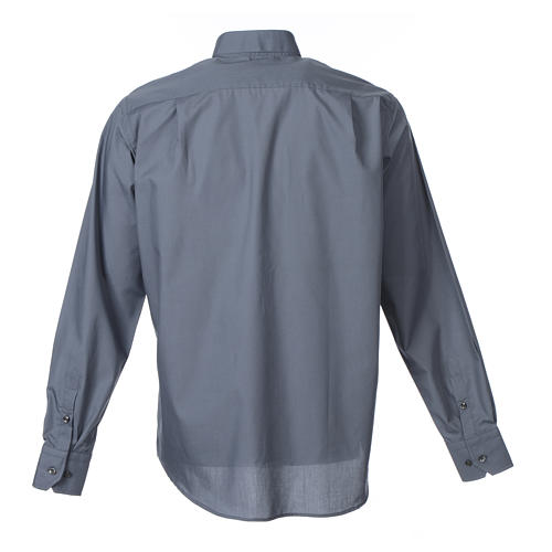 Dark Grey Clergy Shirt long sleeve solid color mixed cotton 2