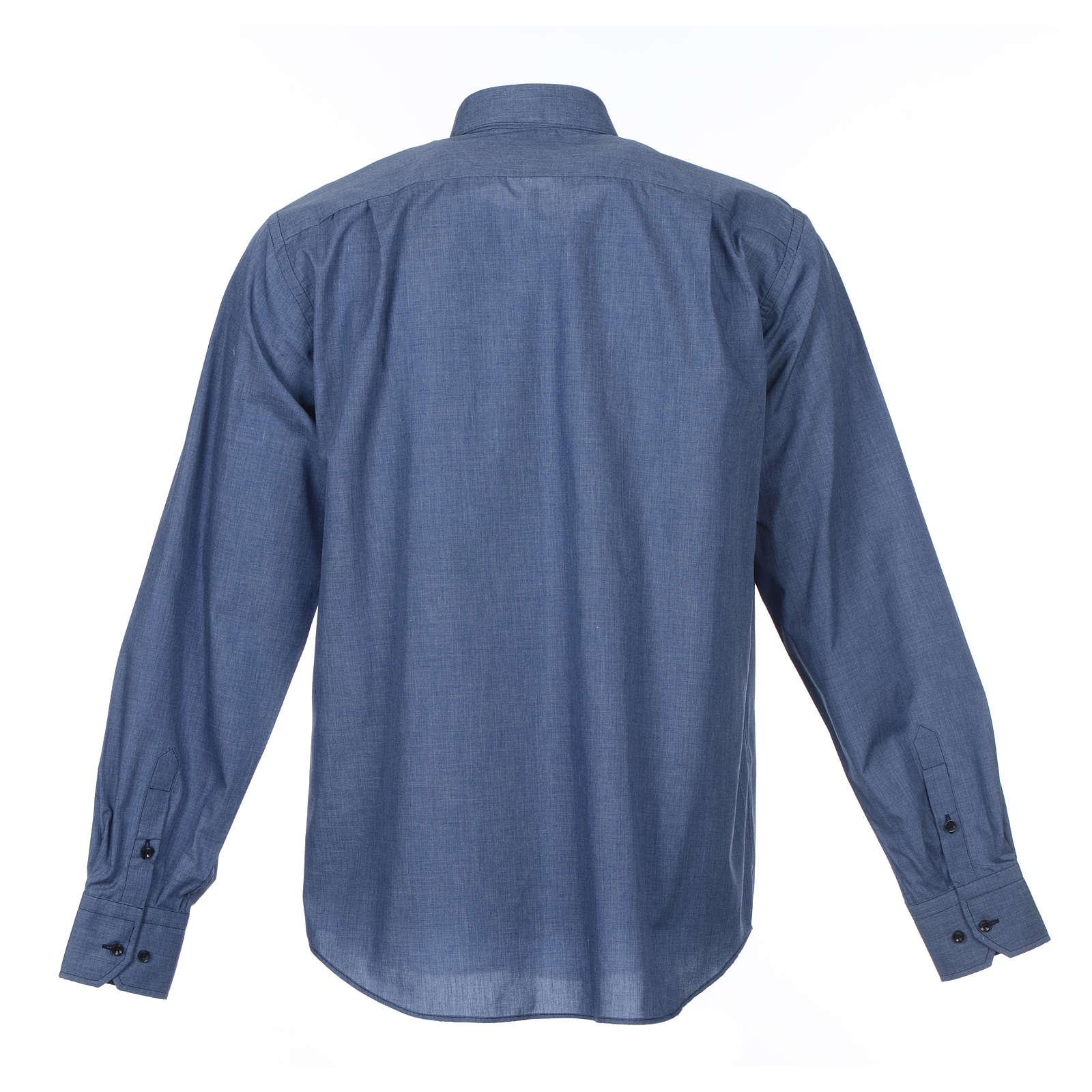 Collarhemd mit Langarm aus Baumwoll-Polyester-Mischgewebe einfarbig Jeansblau 4